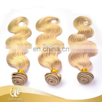 "7a grade 613# blonde color russian human hair body wave 10""-30"" inch in stock no splits"