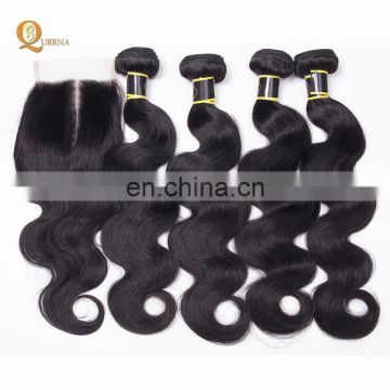 100 Percent Wholesale Raw Hair Body Wave Human Hair 8A Bundles Brazilian Weave With Closure
