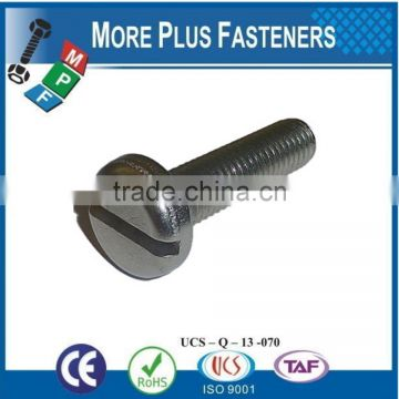 Made in Taiwan Micro Slotted Nickel Plated Brass Stainless Steel Head Slotted Machine Screw