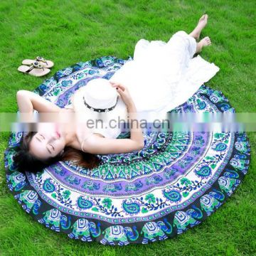 beautiful dropshipping good quality Printed Elephant and Flower Pattern Round Summer Bath Towel Sand Beach Towel
