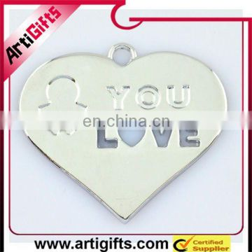 heart shaped metal love pendants