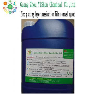 Galvanized passivation film repellent Passivation film cleaner Chromium film removal agent