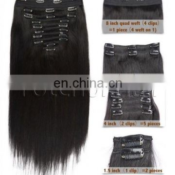 Yotchoi Human Hair Clip In Hair Extension 100% Virgin Remy Virgin Human Hair In 10pcs