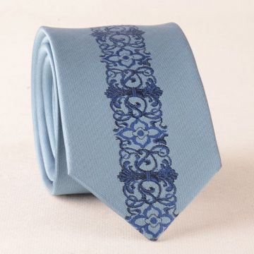 Striped Silver Mens Silk Necktie Summer Adult