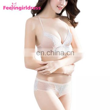 High Quality Mature Sexy Lace Woman Padded Transparent Bra Panty Set