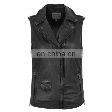 Black Sleeveless Leather Biker