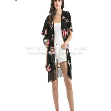 Floral Printed Fringing Hem Open Casual Chiffon Dress