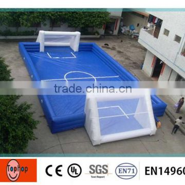 Portable blue PVC plastic inflatable sports games Soccer Field for school / beach, inflatable water soccer field