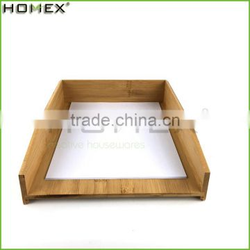 Stackable bamboo office paper tray /a4 paper holder Homex-BSCI
