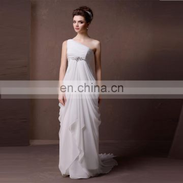Simple One Shoulder Pleated Chiffon Wedding Dress Beaded Belt