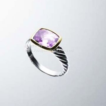 925 Silver Ring 8x10m Noblesse Ring with Amethyst(R-030)