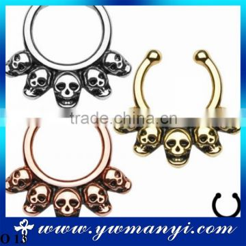 No Piercing Fake Nose Stud Five Skull Septum Hanger Clip-On Fake Nose Ring Piercing Body Jewelry O 13