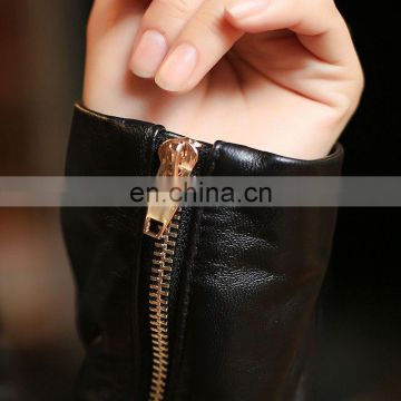 Women Contrast Color Genuine Sheepskin Leather Jacket Girls Short Coat