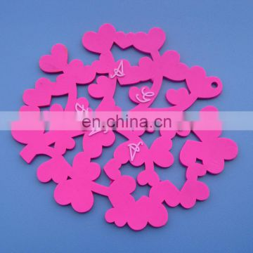 Special love tree design with small pink heart rubber pvc cup coaster for wedding