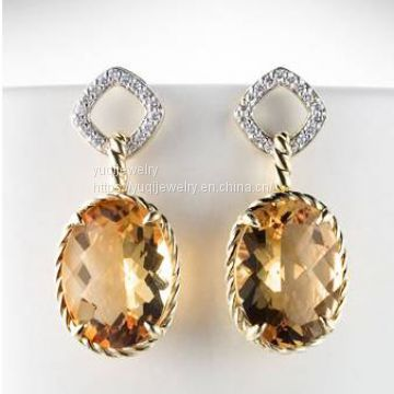 Silver Jewelry Chatelaine Drop Earrings with Citrine(E-110)