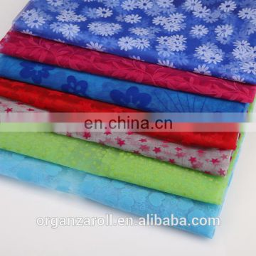 star design flocked organza fabric for home textile