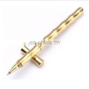 High-end Bamboo joint Brass Gel pen Matte and polished face available Customized Logo Gift Gel pen