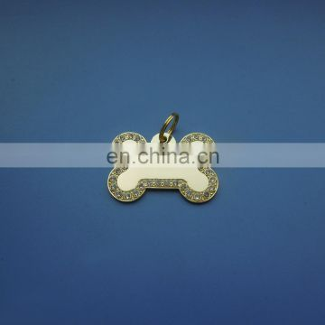 plating glossy gold bone shape cute metal high quality rhinestone dog necklace id tag dangler charm