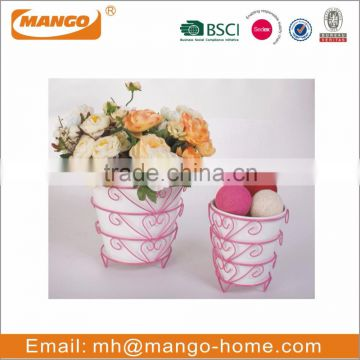 Colorful Indoor Festival Decorative Oval Metal Flower Pot