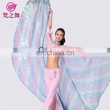 P-9070 Russia hot sale translucent gradient color adult 360 degree belly dance wings