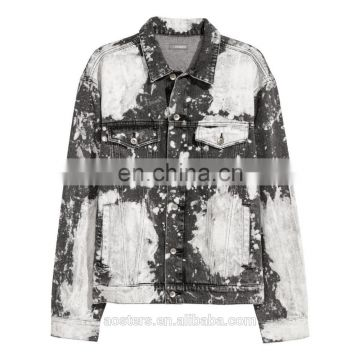 Custom Bleached Pattern Denim Jacket Men Winter Jacket Wholesale