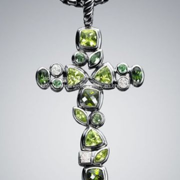 Sterling Silver DY Inspired Diamond Confetti Cross Pendant