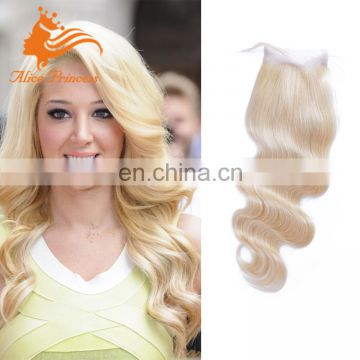 613 Blonde Lace Closure Body Wave 100% Peruvian Virgin Hair Lace closure Free Middle 3 Part Blonde Closure