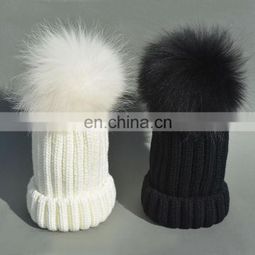 China Supplier Winter Unisex Thicken Knitted Caps With Raccoon Fur Colorful Pompoms Hats
