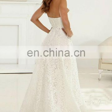 Tea Length Strapless Wedding Gown