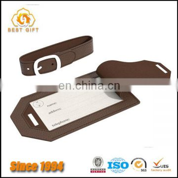 Customized Hight Grade Leather Luggage Tag with Engraving Logo