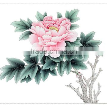 Beautiful modern pure handmade peony flower art work painting