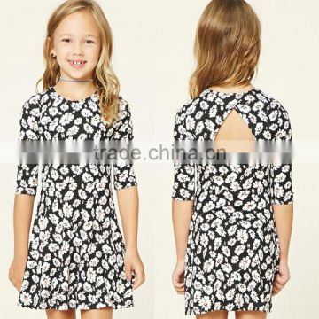 6226bbecb4 Online Shopping Kids Dress Girls Ribbed Knit Skater Wear Round Neckline 3 4  Sleeve Fancy Party Floral Print Dress of Girls Clothing from China  Suppliers - ...