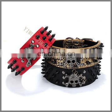 Personality pet collars, nail pull breeze black bullet skull dog collars, dog chain ring Multicolor spot wholesale