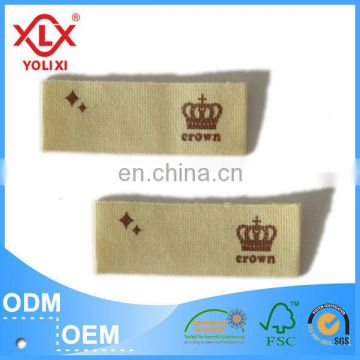 Cotton twill fabric printed label China manufacturer