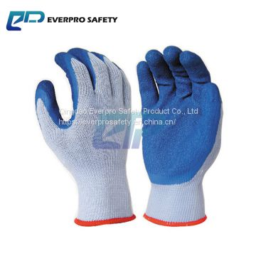 Economic Type Work Gloves Wholesale 10G 2 yarn Polycotton Liner Latex Crinkle Palm Coated Work Gloves With EN388