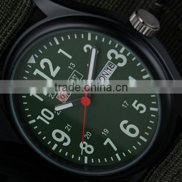 Men's Military Green Dial Fabric Strap Date Sport Army Watch MR056