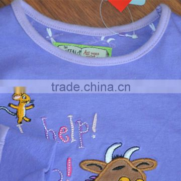 100% Cotton China supplier wholesale kids clothes baby cotton plain t-shirt lovely t-shirt set for baby boys