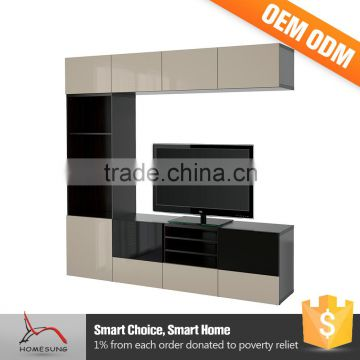L Shaped New Model Wooden Tv Cabinet Designs With Showcase