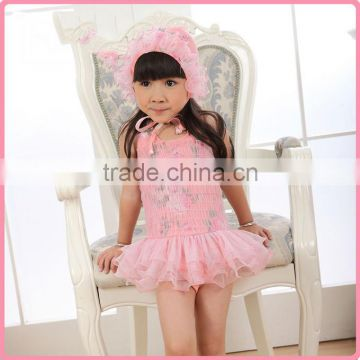 New Fashion Girls Summer Bathing Suit One-piece Nylon And PU Swimwear With Lace And Hat Chilren Princess Swim Dresses SR40416-10