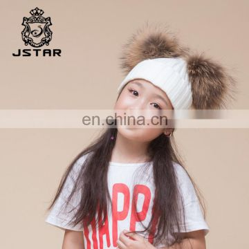 7be2c35685267e Specification With Two Top Balls Knit Fur Pompoms Knitted Winter Beanie Hat  of Fur/Fur Pompom Hats from China Suppliers - 157604022