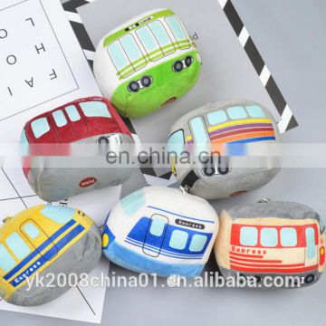OEM custom promotion zipper plush bus keychain toy for child gifts and toys