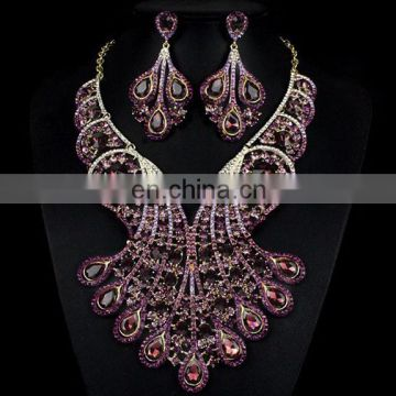 2017 rhinestone jewelry set with earings\handwork crystal necklace\royal blue parry jewelry set for lady
