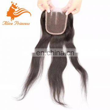 3 way part lace closure with baby hair silky straight peruvian hair closure piece with part