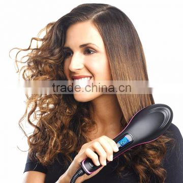 Promotional electric Hair straightening brush comb with PTC heating element temperature adjustment LCD display