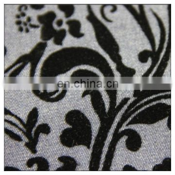 cotton flock design print fabric for upholstery