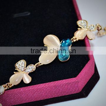 2016 New Arrival 18k Gold Plated Metal Opal Butterfly Bracelet Fashion Women Bracelet Wholesale