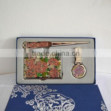 Beautiful flower stainless steel business card case