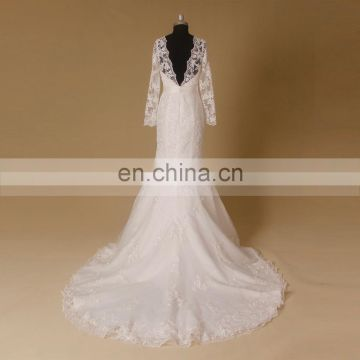 Classical Long Sleeve Scoop Neck Beading Belt Lace Mermaid Wedding Dress