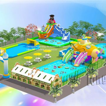 giant water park slides for sale cheap inflatable water park with floating obstacles
