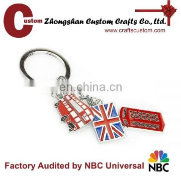 London bus and flag metal enamel key chain